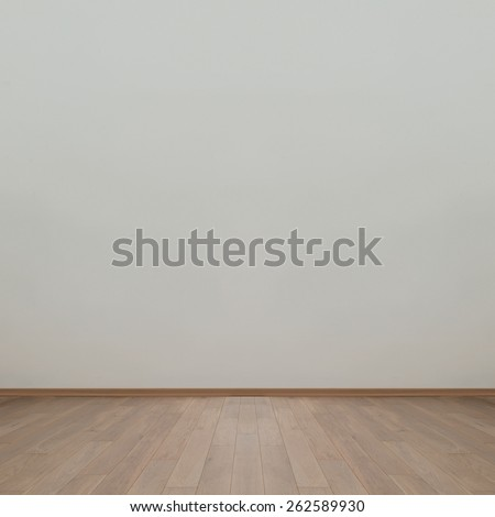 Empty wall with wooden floor background image - stock photo