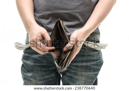 Empty wallet in male hands as symbol poverty and unemployment. Finance and poor economy. Isolated on white. Studio shot. - stock photo