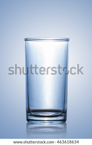 Empty water glass isolated on blue background