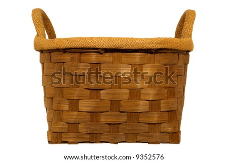 Empty weaved rustic wood basket with burlap liner isolated on white - stock photo