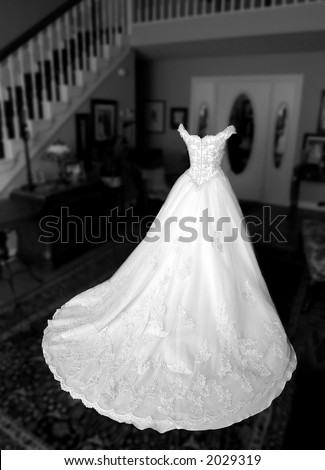 Empty wedding dress. - stock photo