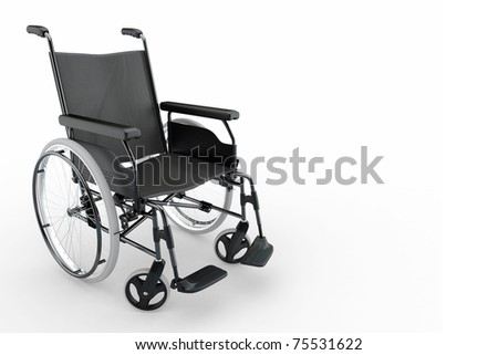 Empty wheelchair on white isolated background. 3d