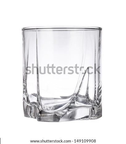 Empty whisky glass isolated on a white background - stock photo