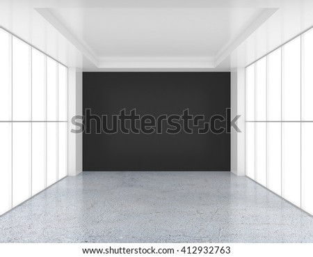 Empty white and black wall room with glossy concrete floor