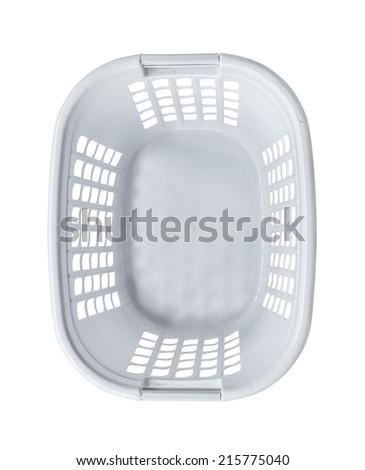 Empty white basket top view - stock photo