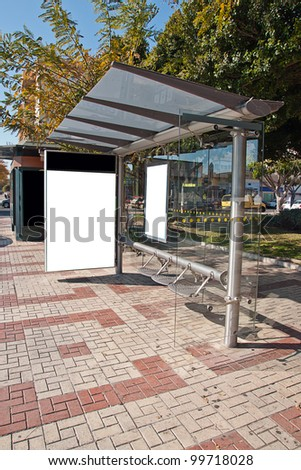 Empty white billboard at bus stop - stock photo