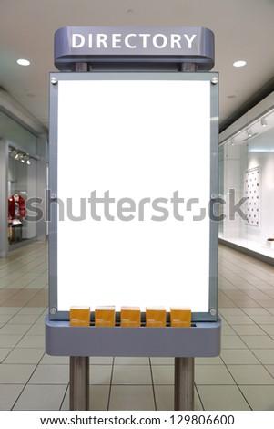 Empty white billboard in the mall - stock photo