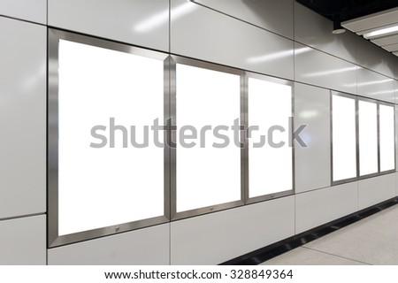 Empty White Billboard inside building - stock photo