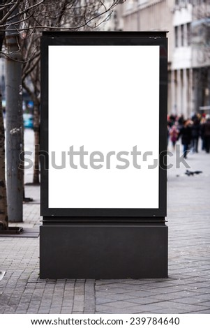 Empty white billboard on street. - stock photo