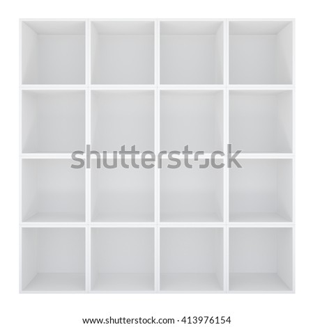 Empty white bookshelf or store cabinet. Isolated on white. 3D rendering - stock photo