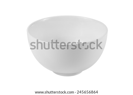 Empty White Bowl (Ceramic or Porcelain) isolated on white with clipping path - stock photo