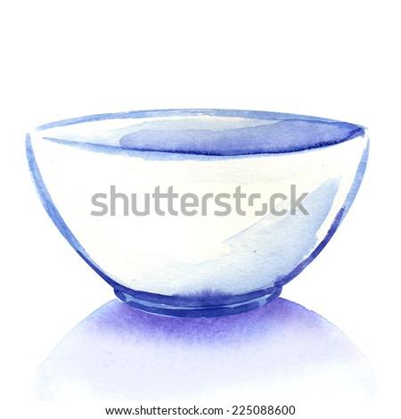 Empty white bowl isolated - stock photo