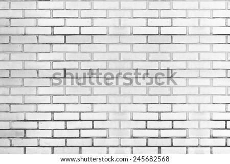 Empty white brick wall textured background. - stock photo