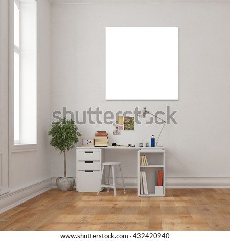 Empty white canvas on the wall over a desk in a home office (3D Rendering)