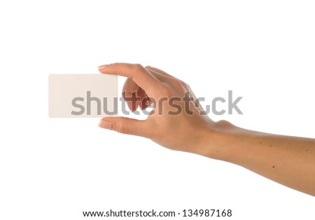 Empty white card in a woman's hand isolated on white.