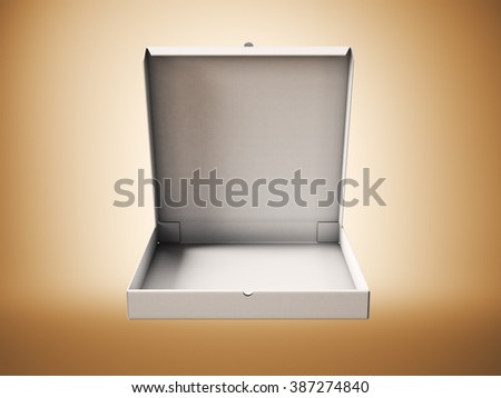 Empty white carton open pizza box on abstract background. Horizontal mockup. 3d render - stock photo