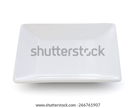 empty white ceramic plate on a white background