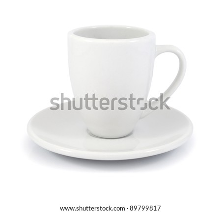 Empty white coffee cup and saucer on a white background - stock photo