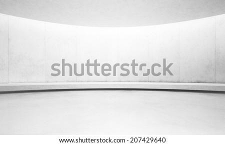 Empty white concrete interior - stock photo