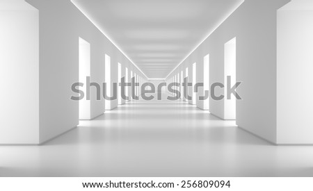 Empty white corridor 3d render - stock photo