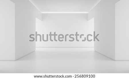 Empty white corridor end 3d render - stock photo