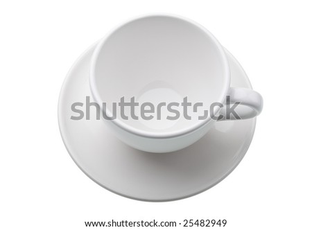 Empty white cup and saucer isolated against white background - stock photo