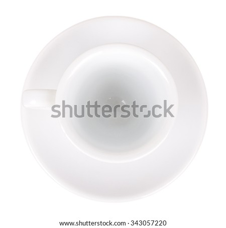 empty white cup and saucer top view isolated on white background - stock photo