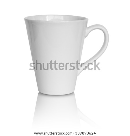 empty white cup isolated on white background - stock photo