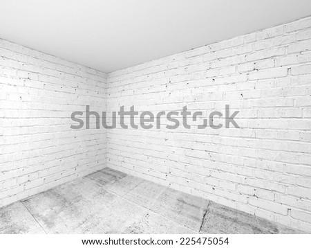 Empty white 3d room interior background, corner with brick walls and concrete floor - stock photo