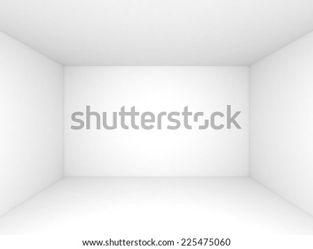 Empty white 3d room interior background, front view - stock photo