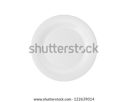 Empty white dinner plate, isolated on white background.
