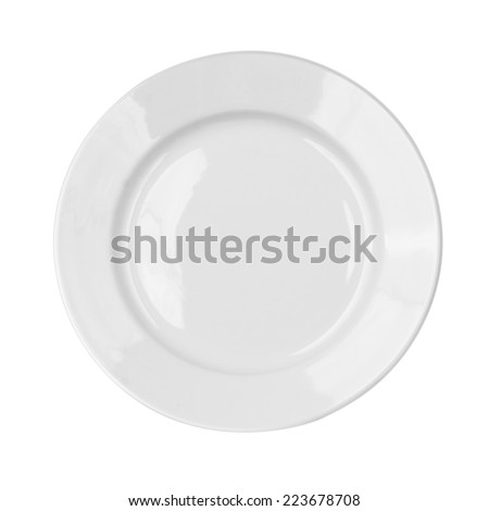 Empty white dish plate isolated with clipping path - stock photo