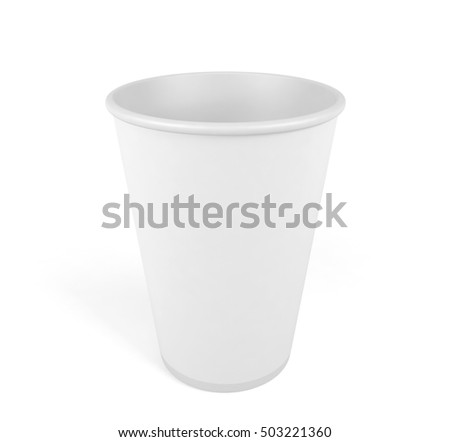 Empty white disposable paper cup isolated on white background, 3D rendering