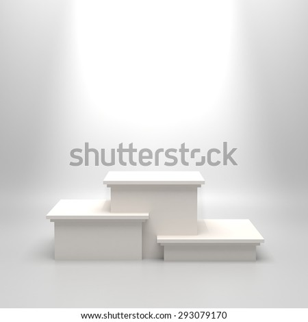 Empty white illuminated podium. Blank template illustration with space for an object, person, logo, text. Ranking, championship, contest or ceremony concept. Achievement in sport, business, education. - stock photo