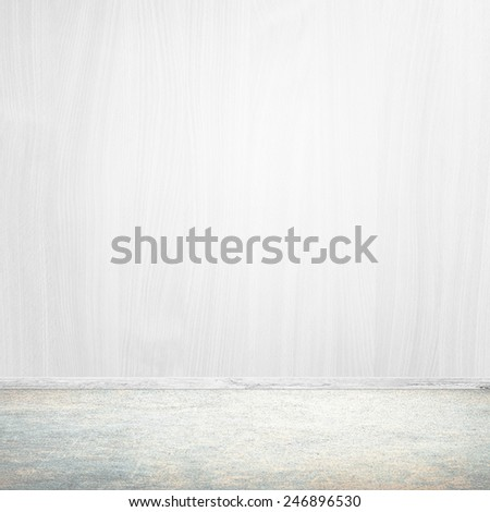 Empty white interior background - bright wall and floor - stock photo