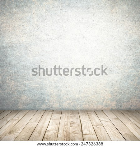 Empty white interior background - bright wall and wood floor - stock photo