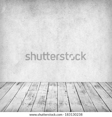 Empty white interior of vintage room without ceiling from gray grunge stone wall and old wood floor.Perfect background for your concept or project. Realistic 3d. - stock photo