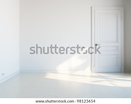 empty white interior with door - stock photo
