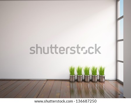 empty white interior with grass - stock photo