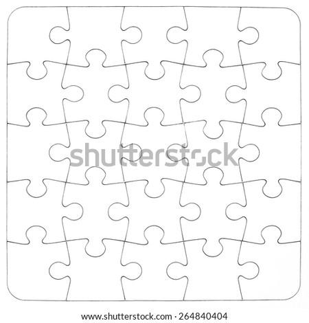 Empty white jigsaw puzzle - stock photo