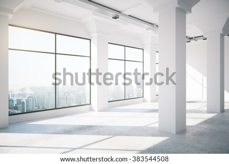 Empty white loft interior with big windows, 3d render - stock photo