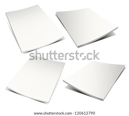 Empty white magazine on white background. Ready to be personalized by you. - stock photo