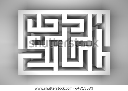 Empty white maze on light gray background - stock photo