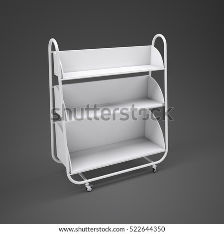 Empty white mobile showcase with shadow on floor. Gray gradient studio background. 3D rendering