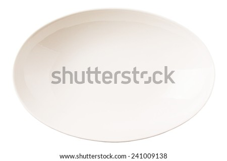 Empty white oval salad bowl over white background