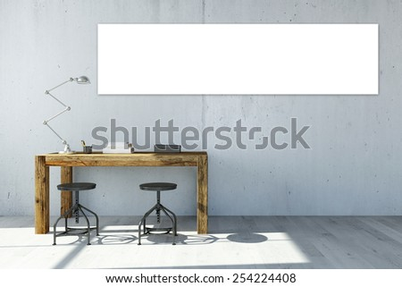 Empty white panorama canvas on office wall over the desk (3D Rendering) - stock photo