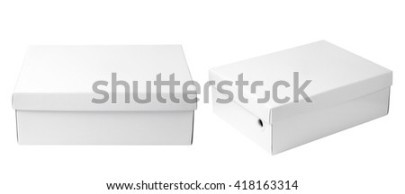 empty white paper box isolated on white background