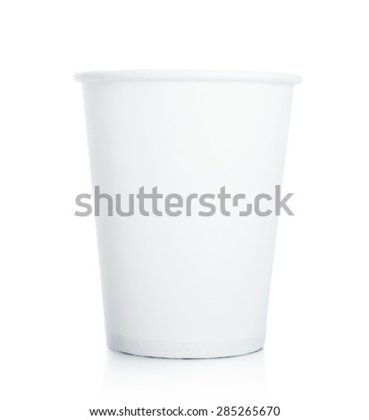Empty white paper cup isolated on white background - stock photo