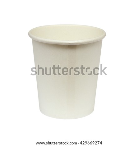 Empty white paper cup isolated on white background