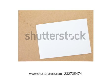 Empty white paper note and brown paper envelope - stock photo